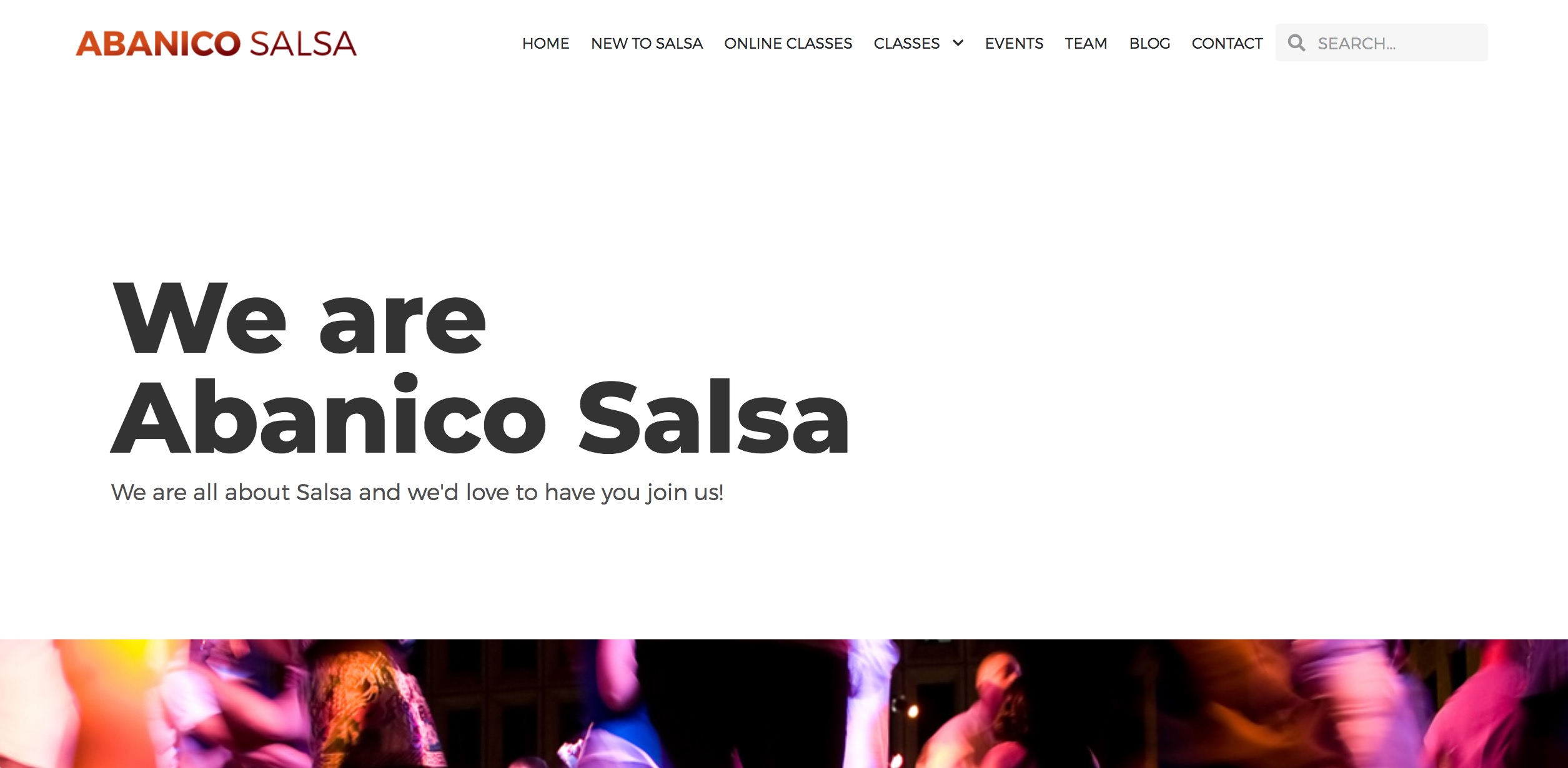 Abanico Salsa website screenshot